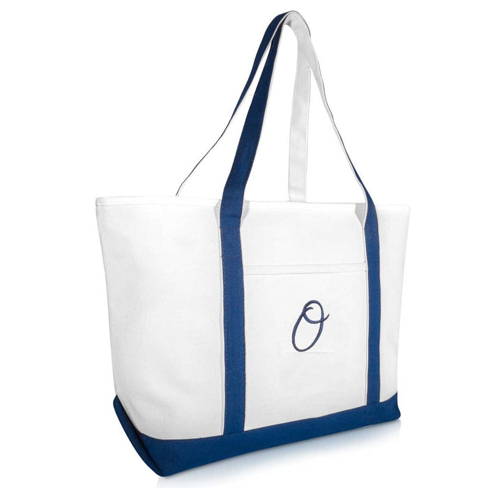 DALIX Quality Canvas Tote Bags Large Beach Bags Navy Blue Monogrammed A-Z