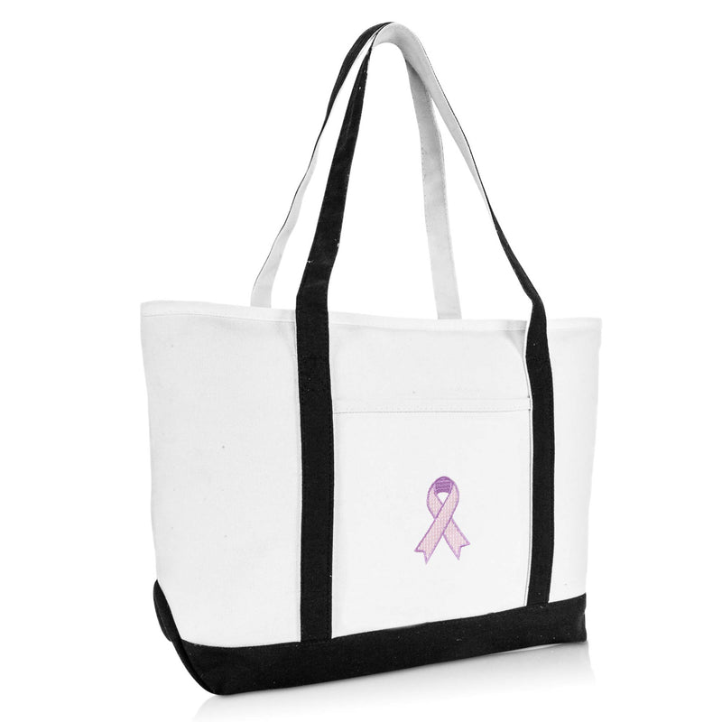 DALIX Breast Cancer Pink Ribbon Womens Premium Embroidered Tote Bag in Black