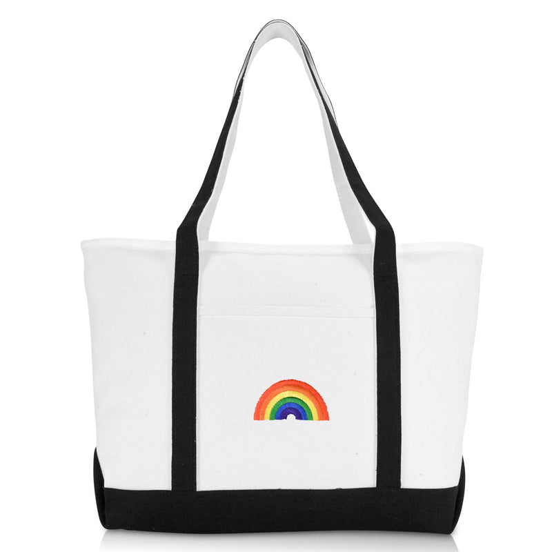 DALIX Cute Rainbow Womens Premium Embroidered Tote Bag