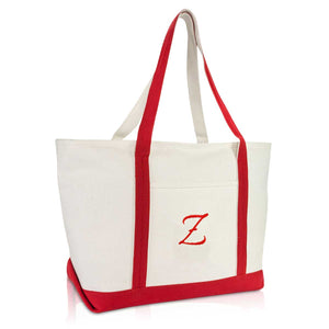 DALIX Premium Canvas Tote Bags Red Shoulder Bag Personalized Gifts A-Z