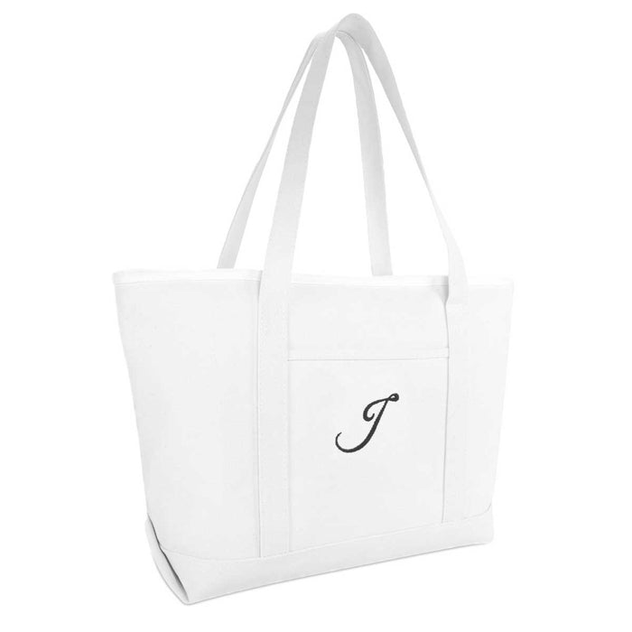 DALIX Large Canvas Tote Bag for Women Work Bag Beach Totes Monogrammed White A-Z