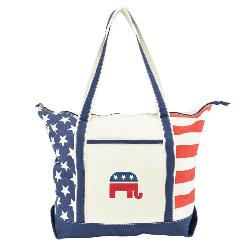 Stars and Stripes Tote Bag with RNC Embroidery