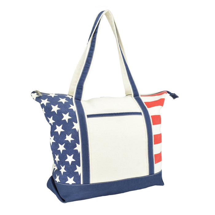DALIX Stars and Stripes Zippered Cotton Canvas USA Shopping Totes DALIX USA
