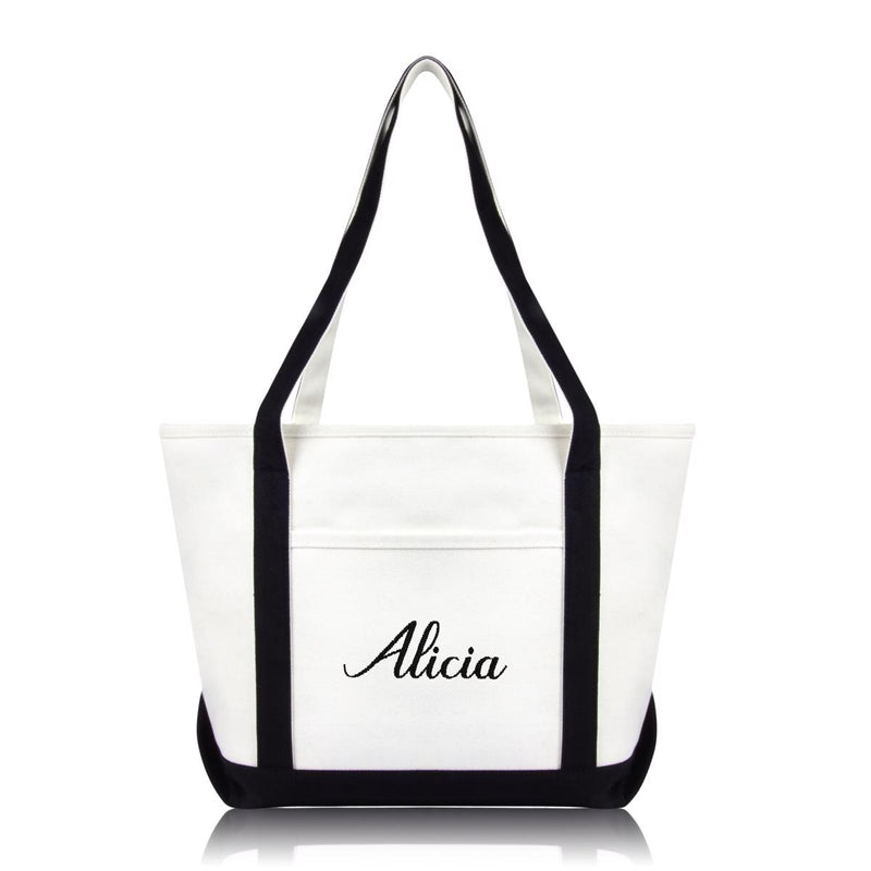 DALIX Womens Custom Names Monogrammed Premium Embroidered Tote Bag