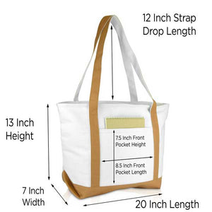 DALIX Daily Shoulder Tote Bag Premium Cotton Canvas