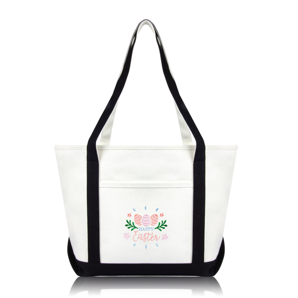 DALIX Happy Easter Womens Classic Premium Embroidered Tote Bag