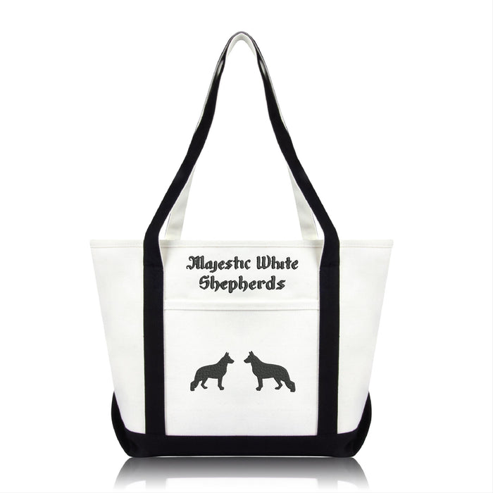 Majestic White Shepherds Medium Tote Bag with Embroidered Logo