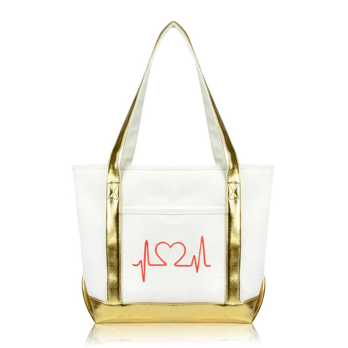 DALIX Heartbeat Nurse Tote Bag Cotton Canvas Embroidered