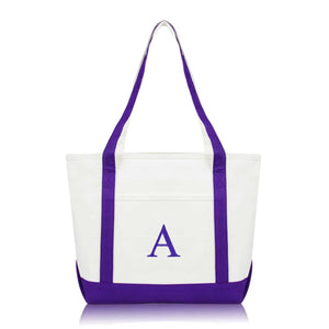 DALIX Medium Personalized Tote Bag Monogrammed Initial Letter - A