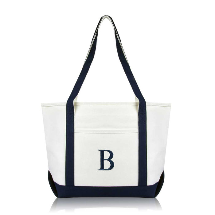 DALIX Medium Personalized Tote Bag Monogrammed Initial Letter - B