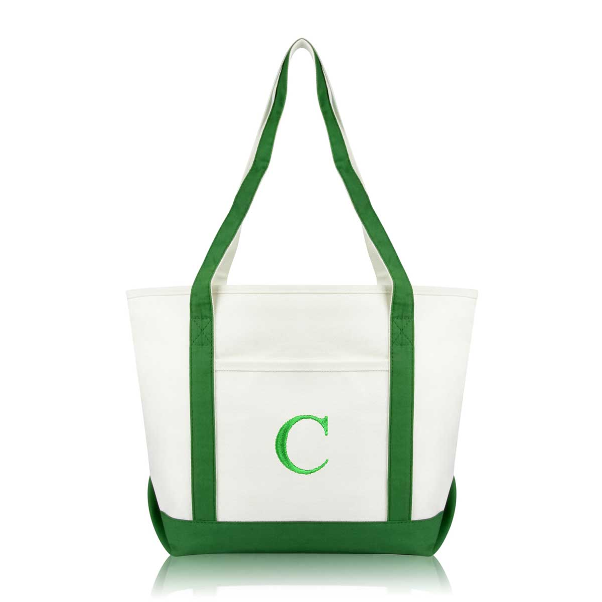 Dalix Medium Personalized Tote Bag Monogrammed Initial Letter C