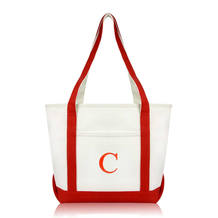 DALIX Medium Personalized Tote Bag Monogrammed Initial Letter - C