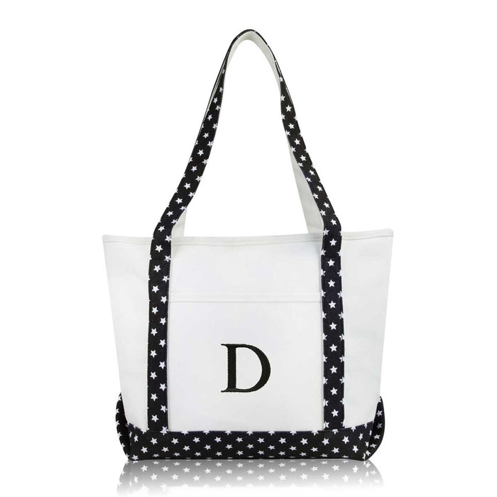 DALIX Medium Personalized Tote Bag Monogrammed Initial Letter - D