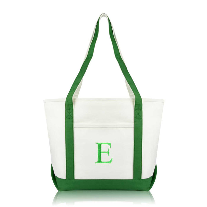 DALIX Medium Personalized Tote Bag Monogrammed Initial Letter - E