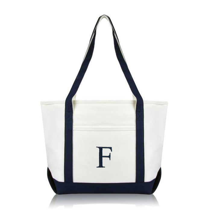 DALIX Medium Personalized Tote Bag Monogrammed Initial Letter - F