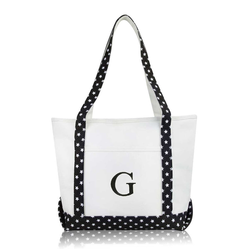 DALIX Medium Personalized Tote Bag Monogrammed Initial Letter - G