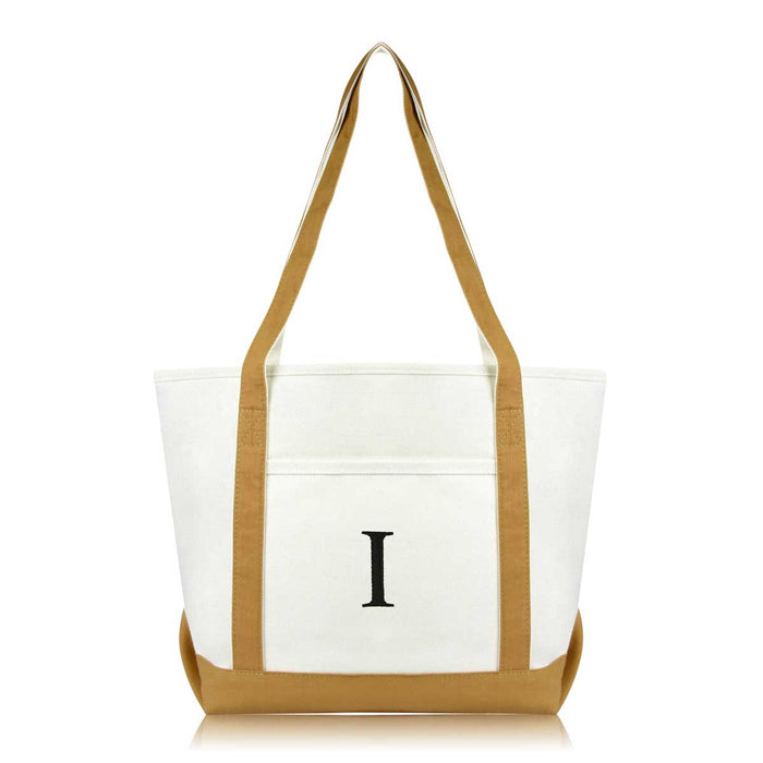 DALIX Medium Personalized Tote Bag Monogrammed Initial Letter - I