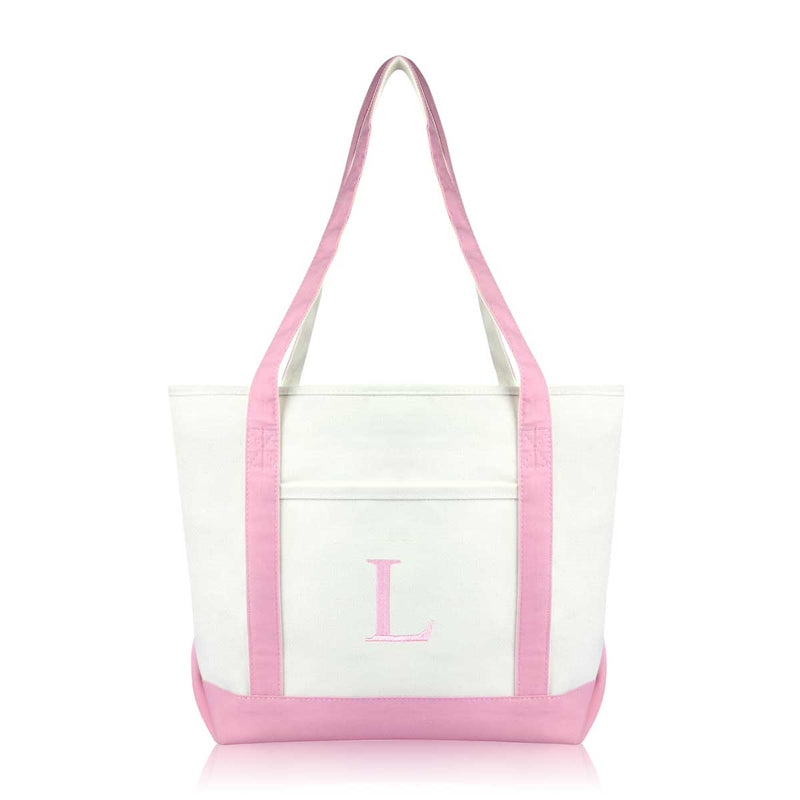 DALIX Medium Personalized Tote Bag Monogrammed Initial Letter - L