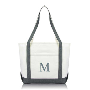 DALIX Medium Personalized Tote Bag Monogrammed Initial Letter - M
