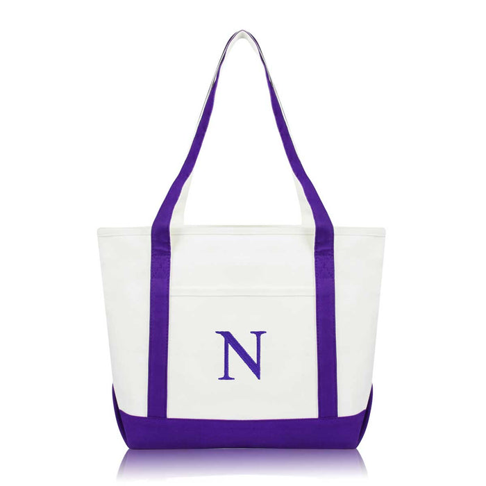 DALIX Medium Personalized Tote Bag Monogrammed Initial Letter - N