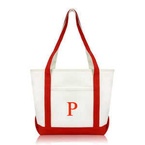 DALIX Medium Personalized Tote Bag Monogrammed Initial Letter - P
