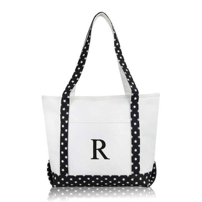 DALIX Medium Personalized Tote Bag Monogrammed Initial Letter - R