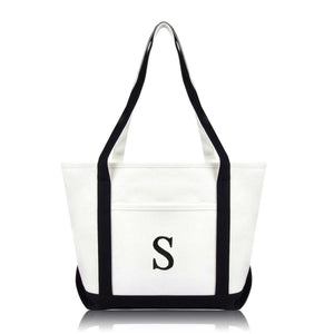 DALIX Medium Personalized Tote Bag Monogrammed Initial Letter - S