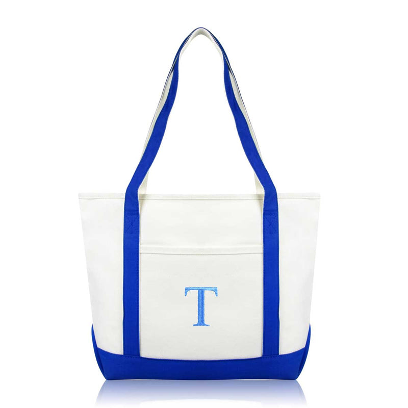 DALIX Medium Personalized Tote Bag Monogrammed Initial Letter - T