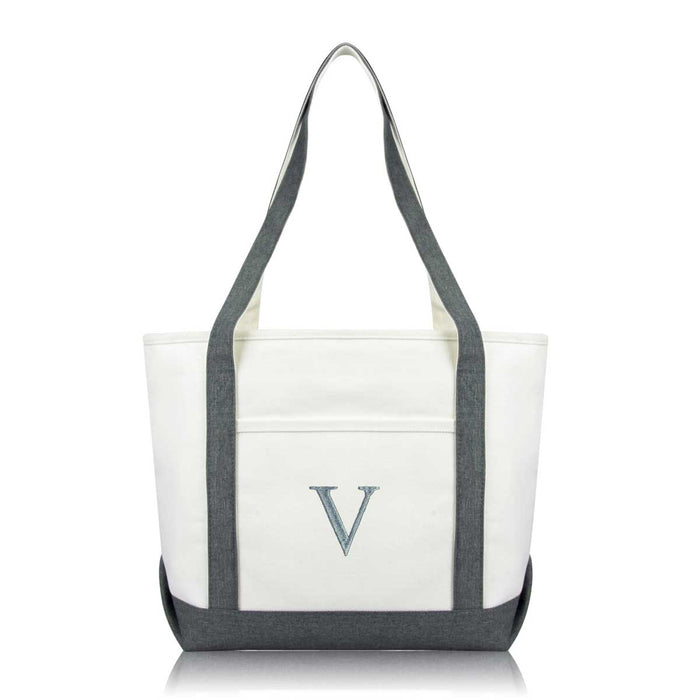 DALIX Medium Personalized Tote Bag Monogrammed Initial Letter - V
