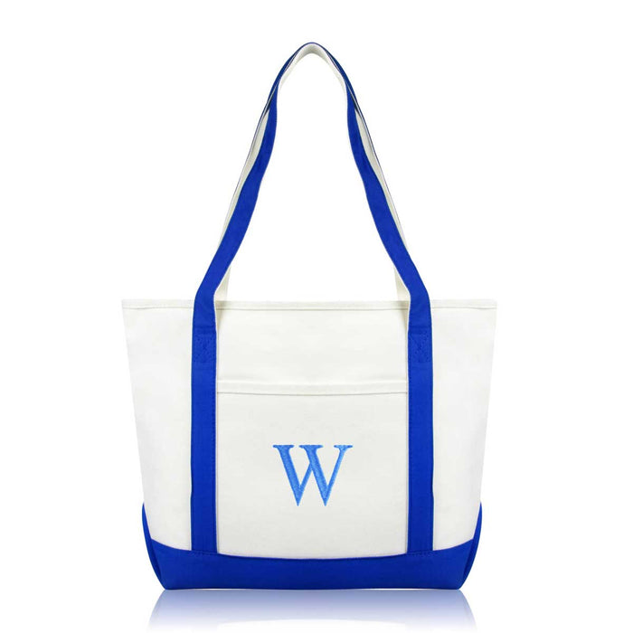 DALIX Medium Personalized Tote Bag Monogrammed Initial Letter - W