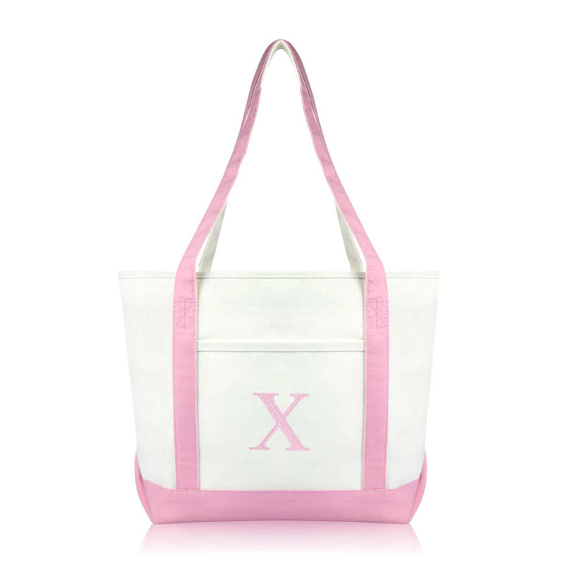 DALIX Medium Personalized Tote Bag Monogrammed Initial Letter - X