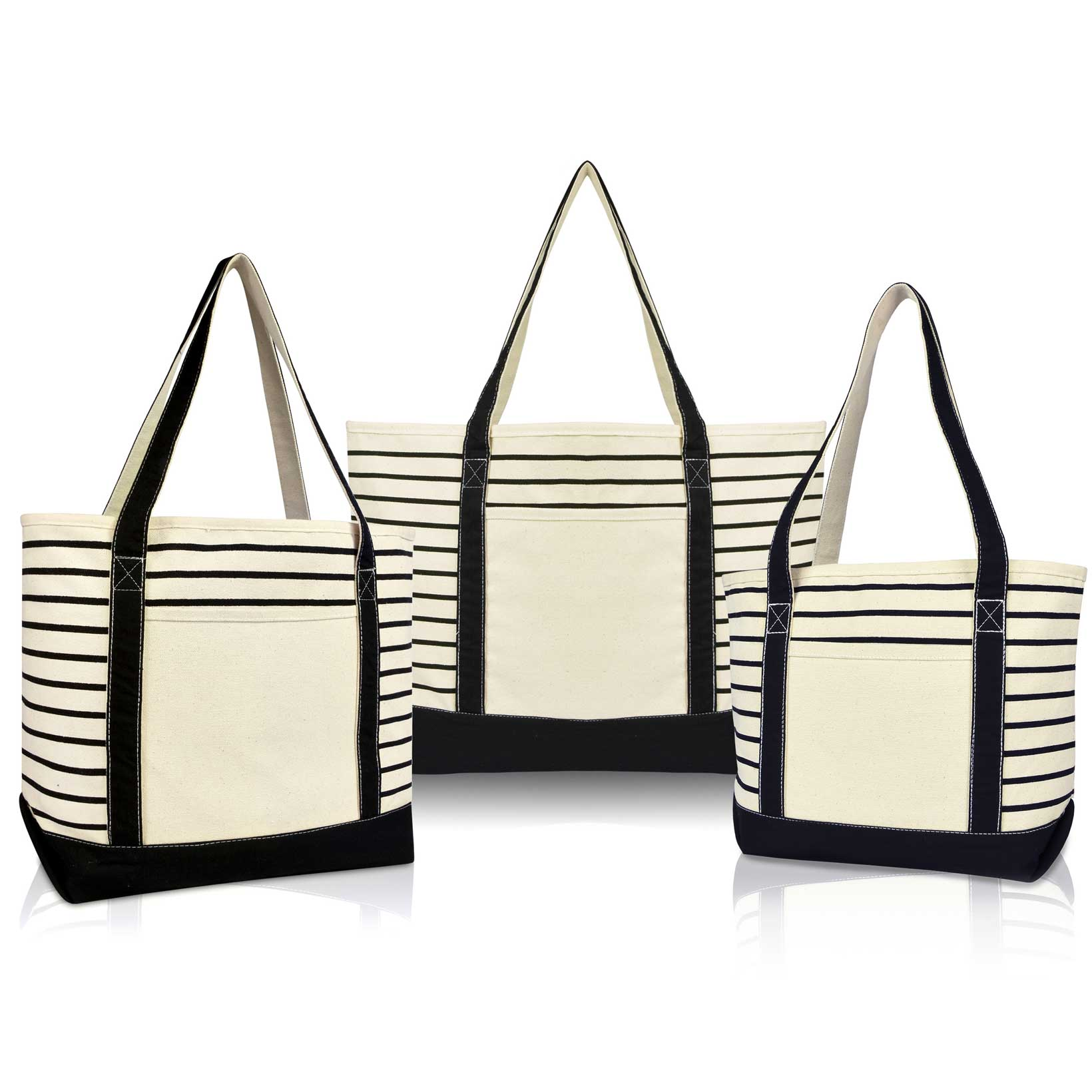 123d556a1 DALIX Stripe Tote Shoulder Bag Deluxe Cotton Canvas Set of 3