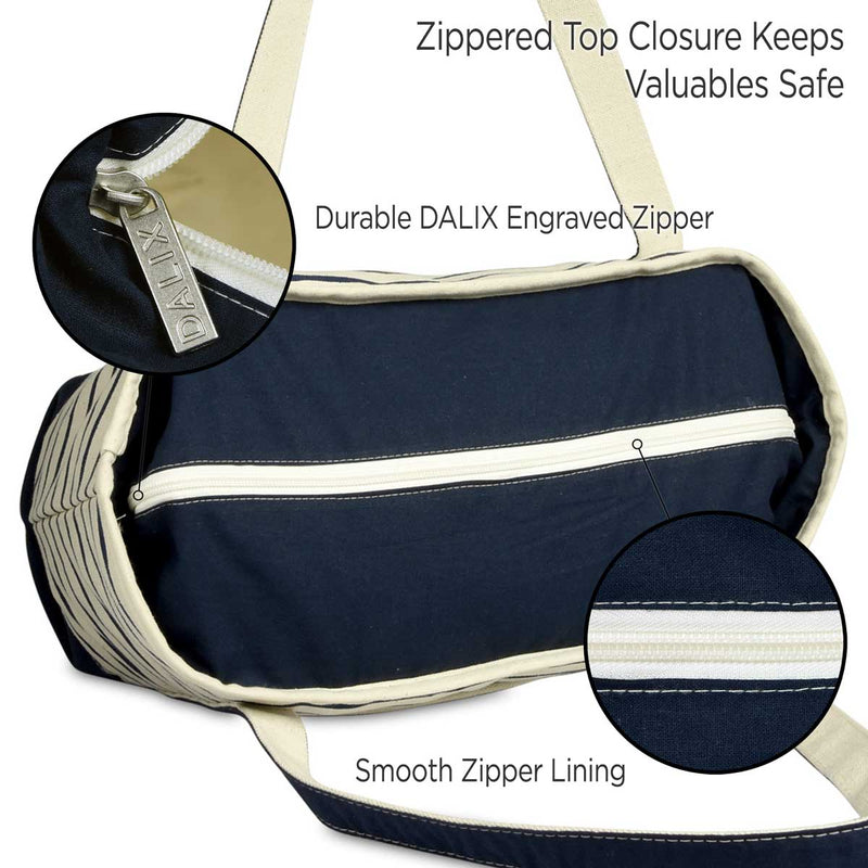 DALIX Stripe Tote Shoulder Bag Deluxe Cotton Canvas Set of 3
