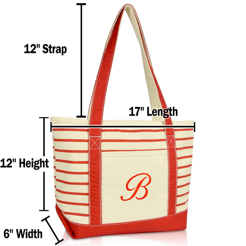 DALIX Striped B-Initial Tote Bag Womens Ballent Letter B