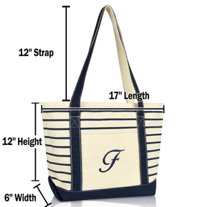 DALIX Striped F-Initial Tote Bag Womens Ballent Letter F