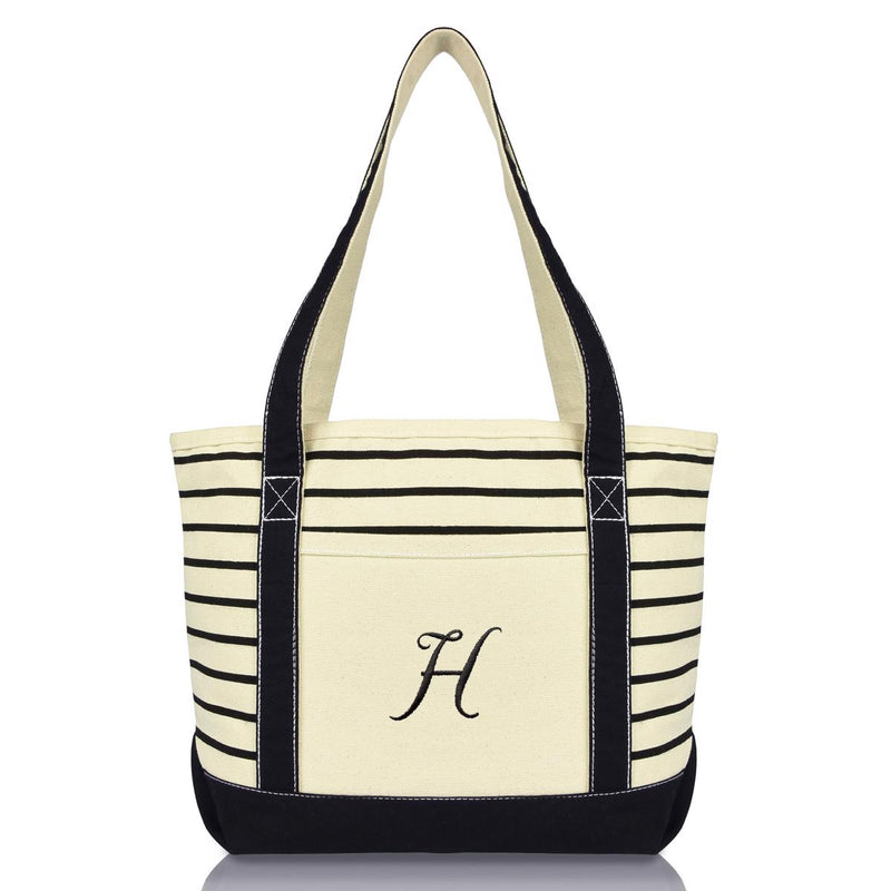 DALIX Striped H-Initial Tote Bag Womens Ballent Letter H