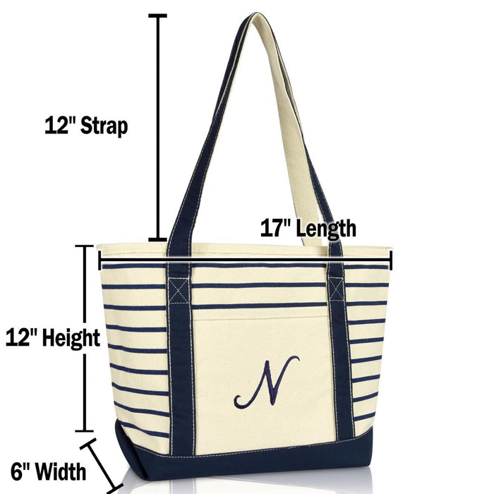 DALIX Striped N-Initial Tote Bag Womens Ballent Letter N