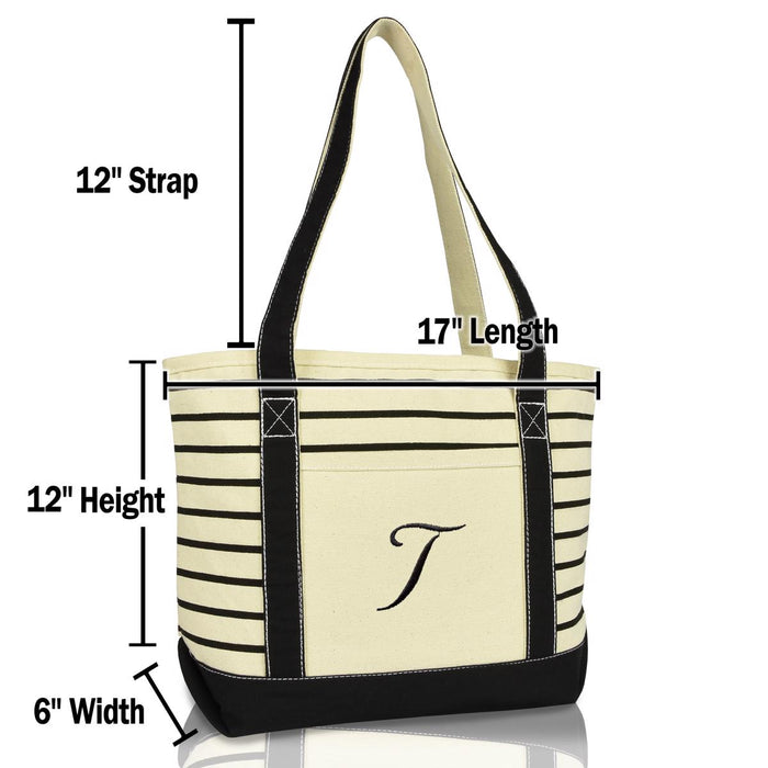 DALIX Striped T-Initial Tote Bag Womens Ballent Letter T