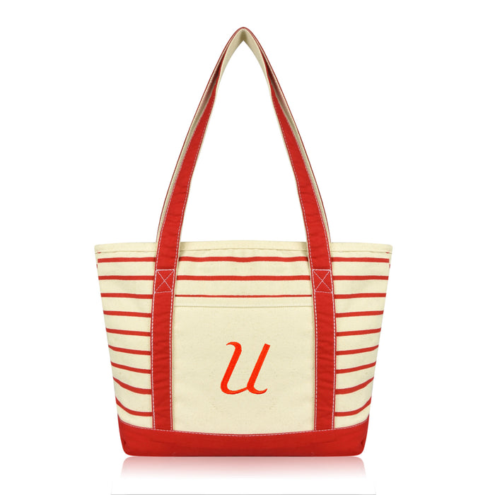 DALIX Striped U-Initial Tote Bag Womens Ballent Letter U
