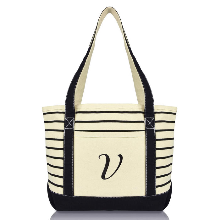 DALIX Striped V-Initial Tote Bag Womens Ballent Letter V