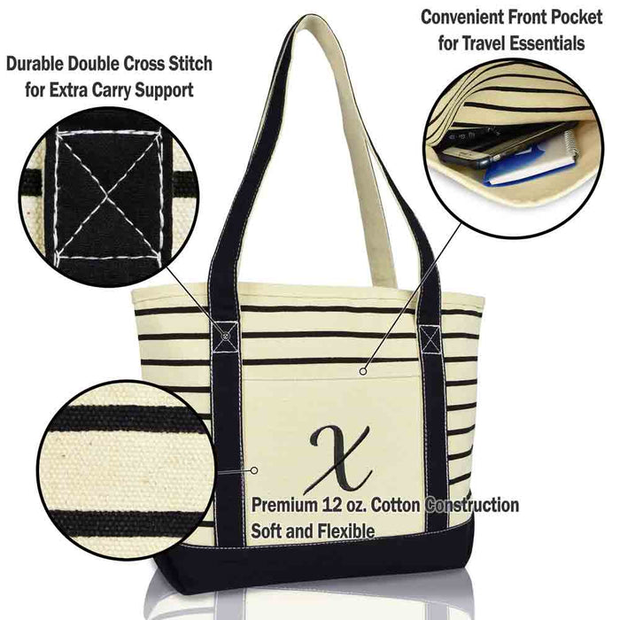 DALIX Striped X-Initial Tote Bag Womens Ballent Letter X