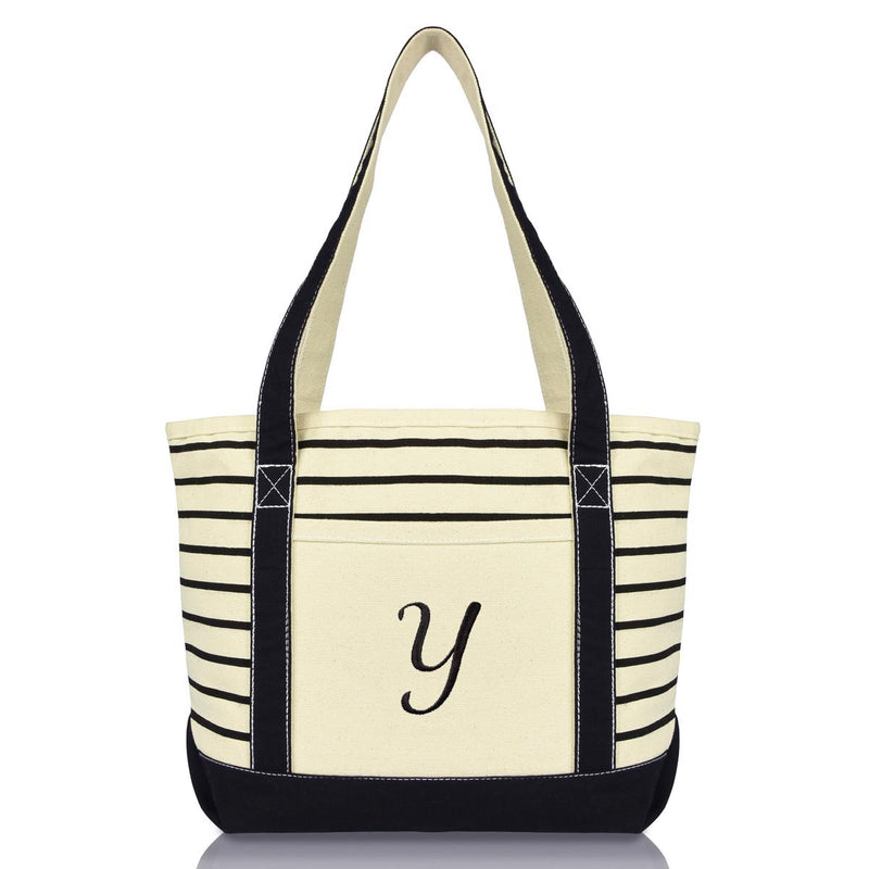 DALIX Striped Y-Initial Tote Bag Womens Ballent Letter Y