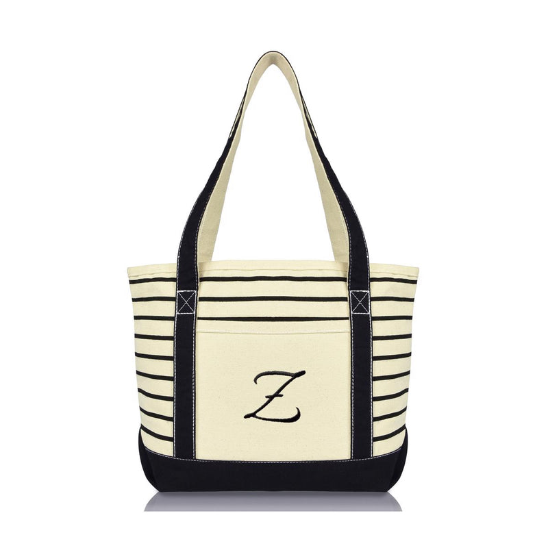 DALIX Striped Z-Initial Tote Bag Womens Ballent Letter Z