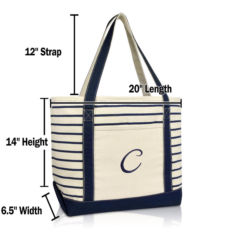 DALIX Striped C-Initial Tote Bag Womens Ballent Letter C