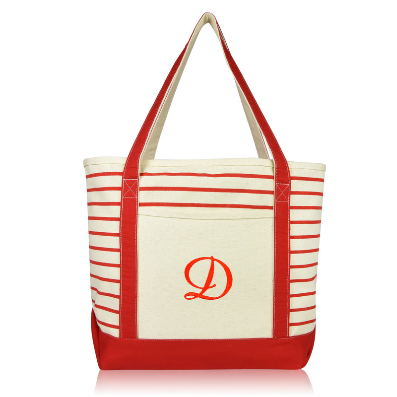 DALIX Striped D-Initial Tote Bag Womens Ballent Letter D