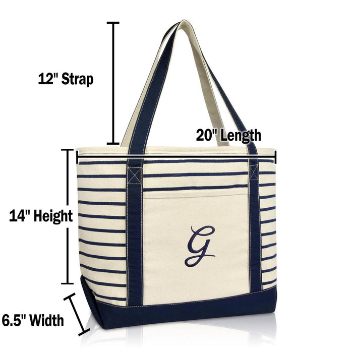 DALIX Striped G-Initial Tote Bag Womens Ballent Letter G