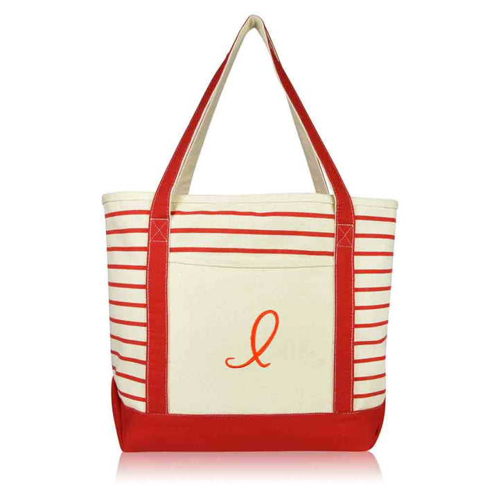 DALIX Striped I-Initial Tote Bag Womens Ballent Letter I