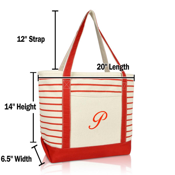 DALIX Striped P-Initial Tote Bag Womens Ballent Letter P