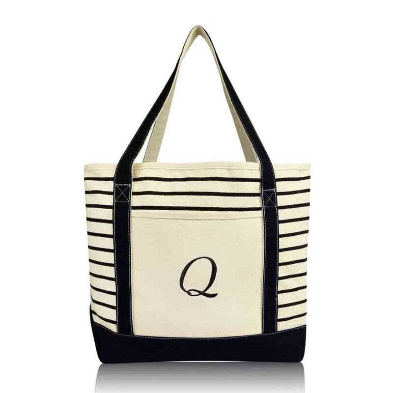 DALIX Striped Q-Initial Tote Bag Womens Ballent Letter Q