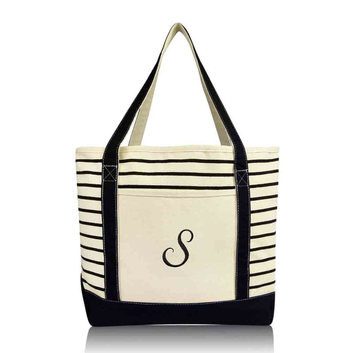 DALIX Striped S-Initial Tote Bag Womens Ballent Letter S